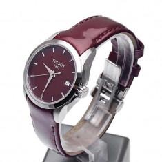 Ceas de dama Tissot Couturier visiniu, Elegant, Quartz, Inox