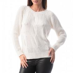 E760-2 Pulover simplu din material tricotat si decolteu rotund, S/M