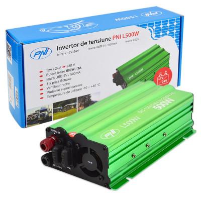 Resigilat : Invertor de tensiune PNI L500W alimentare duala 12V/24V iesire 230V foto