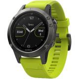 Smartwatch Fenix 5 47MM Gri Si Curea Sport Silicon Galben, Garmin