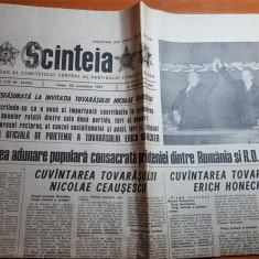 ziarul  scanteia 30 octombrie 1987-ceausescu cu presdintele german prin capitala