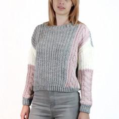 E776-18 Pulover casual in trei culori din material tricotat, S/M