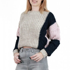 E776-155 Pulover casual in trei culori din material tricotat, S/M