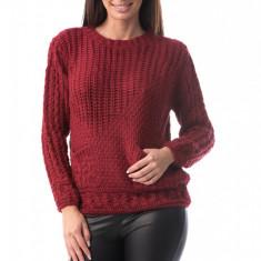 E782-81 Pulover din material tricotat cu model si buzunare laterale, M