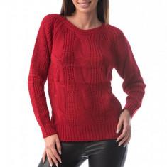 E760-3 Pulover simplu din material tricotat si decolteu rotund, S/M