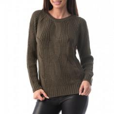 E760-14 Pulover simplu din material tricotat si decolteu rotund, S/M