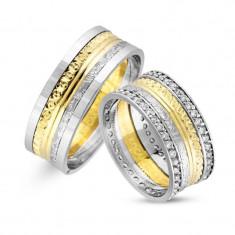 Verighete realizate din aur alb si aur galben UP4110
