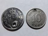 MONEDE ROMANIA - 50 LEI CAROL II - 10 BANI 1900 - GAURITE