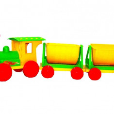 Trenulet pentru copii Doloni cu doua vagoane verde cu galben