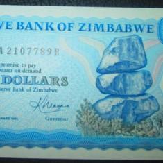 Zimbabwe : 2 dolari 1983 . UNC ( bancnota necirculata )