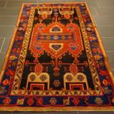 Covor persan autentic, manual, lana, semi-antic, certificat, 130x200cm