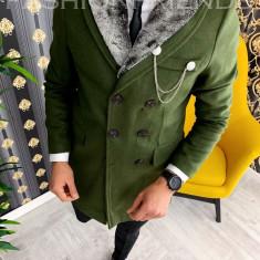 Palton de iarna - pentru barbati, kaki cu blana gri - A3079, Din imagine