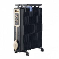 Radiator cu ulei ZEPHYR ZP 1971 G13, 2500W, 13 corpuri, 3 trepte, Suport ghete, Termostat, Negru