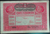 Bancnota ISTORICA 2 COROANE - AUSTRO-UNGARIA (AUSTRIA), anul 1917   *cod 187 B