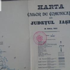 Harta cailor de comunicatie din judetul Iasi - 1903