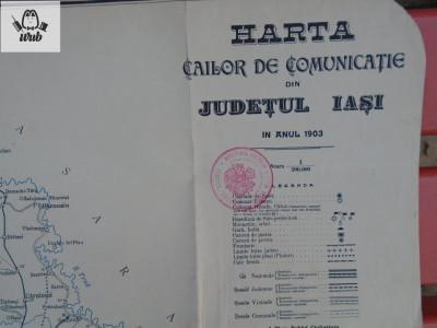 Harta cailor de comunicatie din judetul Iasi - 1903 foto