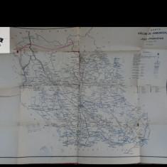 Harta cailor de comunicatie din judetul Prahova - 1911