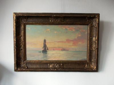 "Dimitrie FLORIAN- ""MARINA"", ulei/panza intinsa pe sasiu- 67x47 cm- restaurat foto"