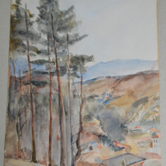 Acuarela veche peisaj