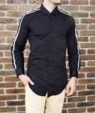 Camasa barbat - camasa tunica camasa slim fit camasa neagra camasa lunga cod 186
