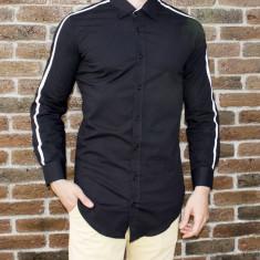 Camasa barbat - camasa tunica camasa slim fit camasa neagra camasa lunga cod 186, L, M, S, XL, XXL, Maneca lunga, Din imagine