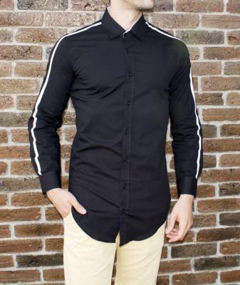 Camasa barbat - camasa tunica camasa slim fit neagra LICHIDARE STOC cod 186 foto