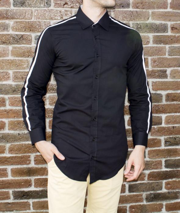Camasa barbat - camasa tunica camasa slim fit neagra LICHIDARE STOC cod 186