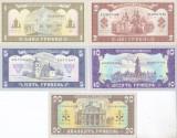 Bancnota Ucraina 1 - 20 Hryven 1992 - P103a-107a UNC ( set x5 semnatura Hetman )
