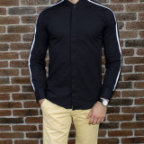 Camasa barbat - camasa tunica camasa slim fit camasa neagra camasa lunga cod 185, L, M, S, XL, XXL, Maneca lunga, Din imagine