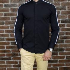 Camasa barbat - camasa tunica camasa slim fit camasa neagra camasa lunga cod 185, S, XL, XXL, Maneca lunga, Din imagine