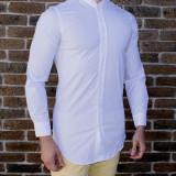 Camasa alba - camasa slim fit camasa fashion camasa lunga cod 189, M, Maneca lunga, Din imagine