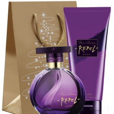 Set femei - Far Away Rebel - Parfum, crema corp, punga - Avon - NOU