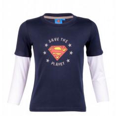 Bluza din bumbac Superman Save the Planet, pentru baieti, imprimeu cu logo, Bleumarin, Textiles Vertrauen