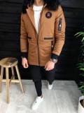 Geaca pentru barbati fashion - slimfit - PREMIUM - MARO cu blana neagra - A3132, L, M, S, Din imagine