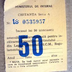 Chitanta  amenda   circulatie  1971