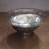 Fructiera veche din alpaca argintata si  bol de cristal
