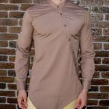 Camasa bej asimetrica - camasa asimetrica camasa slim fit camasa ocazie cod 188, L, M, S, XL, Maneca lunga, Din imagine