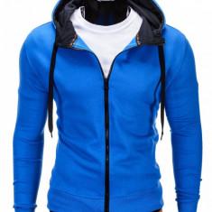 Hanorac pentru barbati, albastru, cu fermoar si gluga, slim fit, sport - B485, M, S