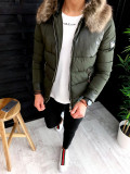 Geaca pentru barbati fashion - slimfit - PREMIUM - KAKI cu blana maro - A3130, L, M, S, Din imagine