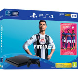 Consola Sony Playstation 4 Slim 1Tb Jet Black + Fifa 19 + Extra Controller Dualshock 4 V2 + Ps Plus 14 Zile