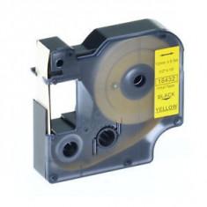 Banda vinil compatibila DYMO 18432 ID1, 12mm x 5.5m, Negru/Galben