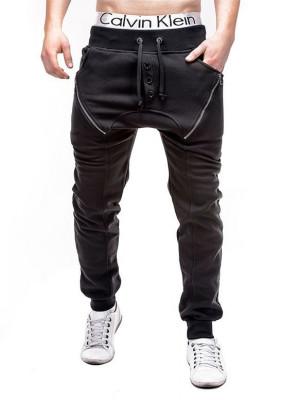 Pantaloni pentru barbati de trening, negru, cu banda jos, semi-tur, siret, bumbac - P184 foto