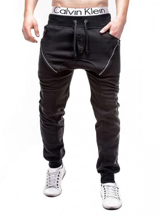 Pantaloni pentru barbati de trening, negru, cu banda jos, semi-tur, siret, bumbac - P184