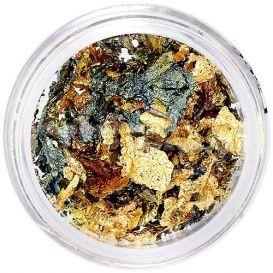 Decorații pentru unghii aurii și verzi - hârtie metalizată foto