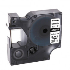Tub termocontractibil compatibil Dymo 18055, 12mm x 1.5m, Negru/Alb