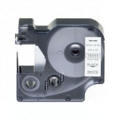 Banda vinil compatibila DYMO 18444 ID1, 12mm x 5.5m, Negru/Alb