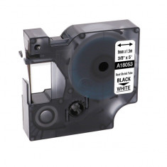 Tub termocontractibil compatibil Dymo 18053, 9mm x 1.5m, Negru/Alb