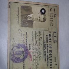 carte de identitate pentru calatorii nelimitate CFR,1942,Fotografie,T.GRATUIT