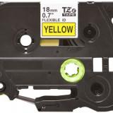 Banda laminata flexibila compatibila BROTHER TZE-FX641, Negru/Galben, 18mm x 8m