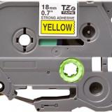 Banda laminata Strong compatibila BROTHER TZE-S641, Negru/Galben, 18mm x 8m
